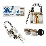 Tools & Hardware : YuliTech Practice Lock Set, Transparent Cutaway Crystal Pin Tumbler Keyed Padlock, Lock Picking Practice Tools for Locksmith, Include 3 Common Types of Lock for Lock Pick Set