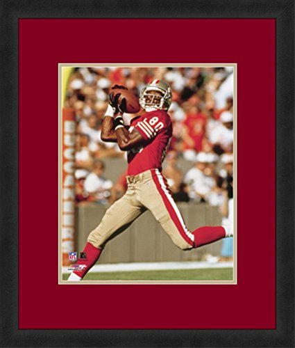 NFL San Francisco 49ers Jerry Rice 16x20-Inch Full Color Logo Mat Photograph, Red