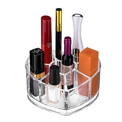 - Kaiyee Transparent Acrylic Heart Shape Lipstick Nail Polish Rack, Cosmetic and Makeup Brush Holder with 8 Compartments