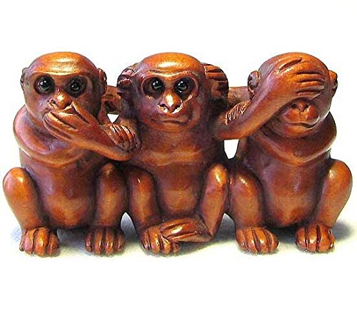 No Evil Monkey Carved Boxwood Signed Ojime for Jewelry Making 9143B
