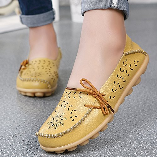 Schnürschuhe aus Flats Lässige Damen On Leder 2 Slip Gelb Schuhe Mokassins SCIEU Eqwx58Tg8