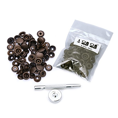 Best Review Of 20 Completed Sets Snap Fasteners Press Studs Sewing Leather Buttons and Tool For Leat...