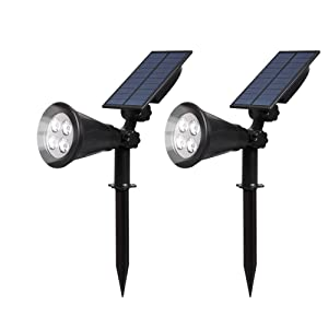 T-SUN Solar Spotlights LED Outdoor Wall Light, IP65 Waterproof,Auto-on at Night/Auto-Off by Day, 180°Angle Adjustable for Trees, Patio, Yard, Garden(White-2 Pack)