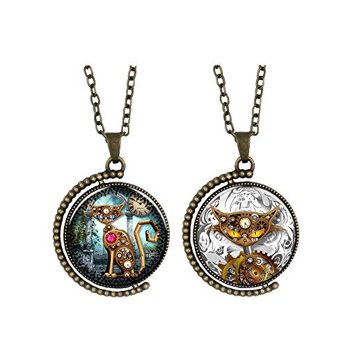 steampunk necklaces clothing accessories for women men jewelry double sided gears pussy cat pendant on Alloy