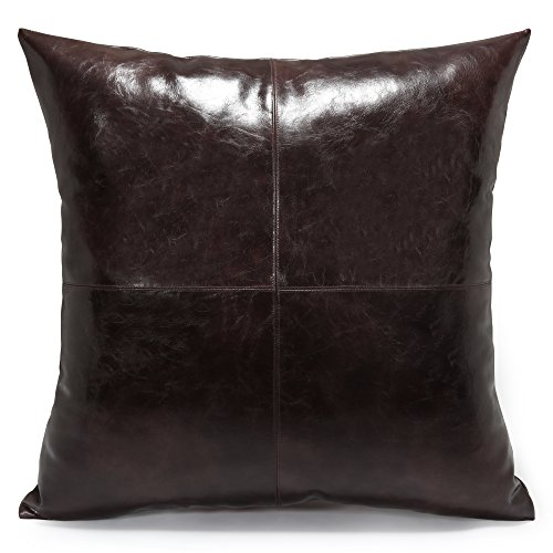 Acanva Decorative Accent Throw Pillow Faux Leather Cushion with Pillowcase Cover Sham and Insert Filling, Solid, Dark Brown