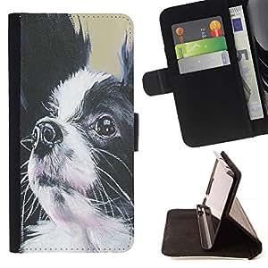 Momo Phone Case / Flip Funda de Cuero Case Cover - Papillon Perro Negro Blanco Peque?o pelo largo; - LG G4