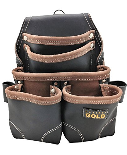 Leather Gold Nail Pouch | Leather Tool Pouch 3150DP, 5 Pockets, Black, Oil-Tanned Leather, Heavy Duty Carpenter Tool Belt With Reinforced Seams and 2 Hammer Holders