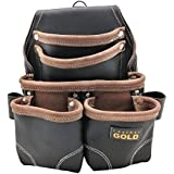 Leather Gold Nail Pouch   Leather Tool Pouch 3150DP, 5 Pockets, Black, Oil-Tanned Leather, Heavy Duty Carpenter Tool Belt With Reinforced Seams and 2 Hammer Holders