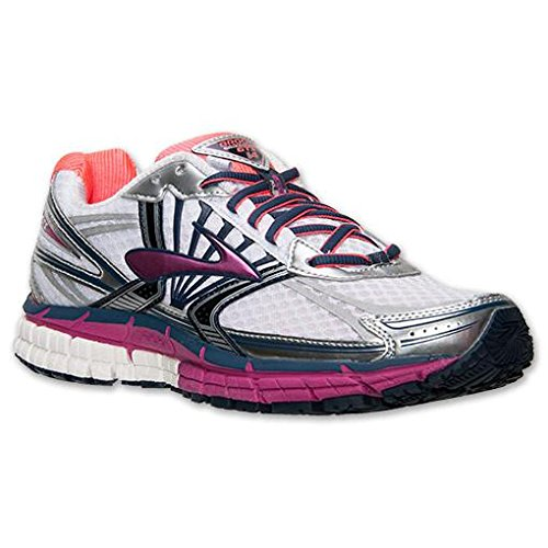 Brooks Women's Adrenaline GTS 14 Running Shoes, Color: White/Fuschia/Midnight, Size: 6 2A