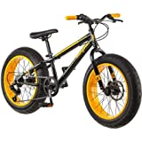 20'' Mongoose Massif Boys' All-Terrain Fat Tire Mountain Bike with Huge four-inch Wide Tires, Black/Yellow