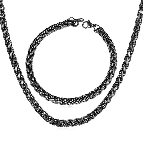 Chain Bracelet Necklace Plated Stainles