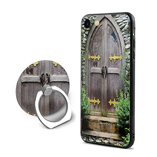 Rustic iPhone 7/iPhone 8 Cases,Unique Castle Traditional Middle Age Heritage Fairy Doorway Aged Entrance Picture Brown Green,Mobile Phone Shell Ring ()