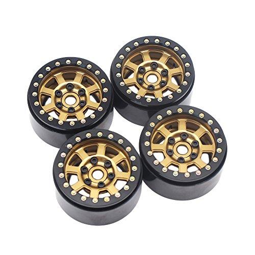 4PCS 1.9 Aluminum Beadlock Wheel Rims for 1/10 Rc Crawler Axial Scx10 II D90 CC01 D110 (Bronze+Black)