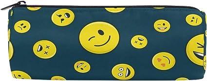 Estuche para lápices Estuche de forma cilíndrica Cara divertida Emoji Happy Time Pen Papelería Bolsa con cremallera: Amazon.es: Oficina y papelería