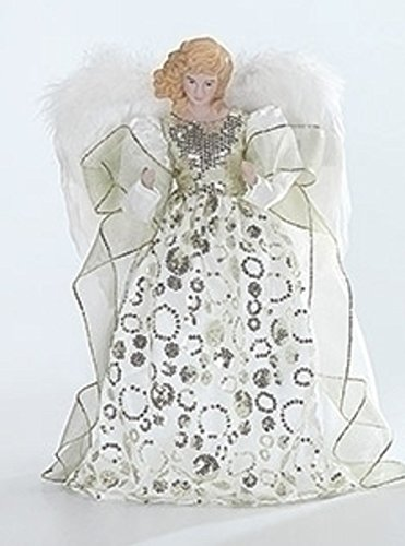 Roman Porcelain Angel with Ivory and Gold Gown Christmas Tree Topper 14