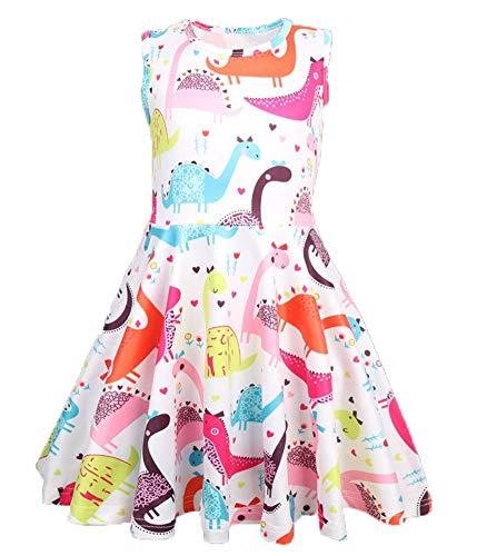 GSVIBK Kid Cotton Dress Girls Cute Cartoon Dress Baby Casual Dress Toddler Short Sleeve Cartoon Dress 6T 363 ()