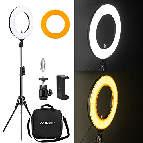 Zomei 14-inch Outer Dimmable SMD LED Ring Light Kit (41W 5500K) with 70-inch Light Stand - Plastic Color Filter - Phone Holder & Carrying Bag for Makeup Camera Smartphone Youtube Video Shooting by ZOMEI