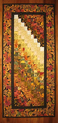 Art Quilt Fall Autumn Fabric Wall Hanging Textile Abstract 19 x 42'' Quilted, 100% cotton fabric by Tahoe Quilts
