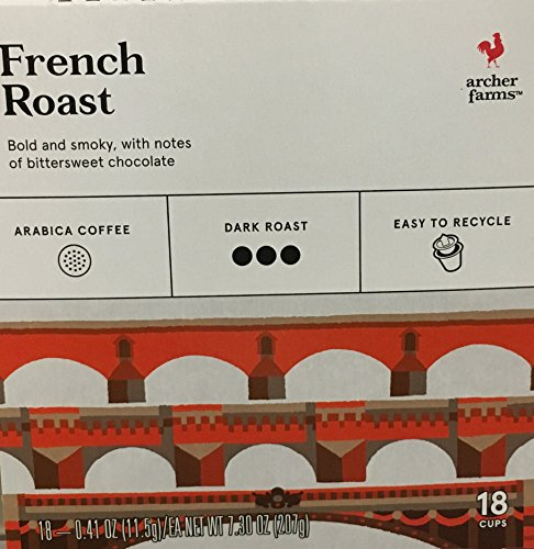 [18 K-Cup Archer Farms Keurig Brewed Coffee French Roast, Dark Roast, One - 7.2oz Box] (7.2 Ounce Boxes)