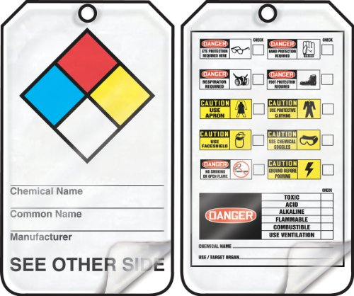 Accuform Signs THS103LCP Self-Laminating Hazardous Material Tag, Legend