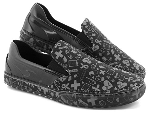 Boaonda Jersey Flat Shoes - Printed Sneakers (6, Black With Gray Hospital Icons) - Exclusive Print Jersey