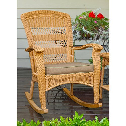 Traditional Wicker All Weather Plantation Rocking Chair for Indoor or Outdoor Patio or Porch with Quick Dry Insect and Mildew Resistant Cushion