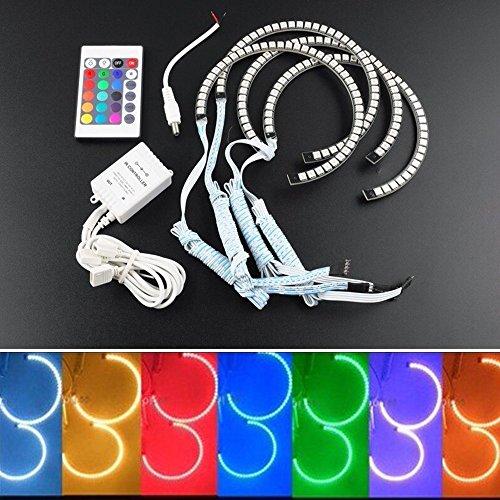Qiuko 4 x 131MM 16 Multi-Color RGB 5050SMD LED Angel Eye Halo Rings Headlight for BMW E46 E38 E39 3 5 7 Series