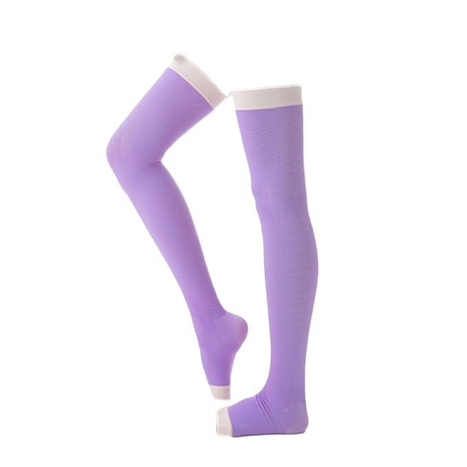 a5093fcc13118 Women's Night Socks High Compression Tights Flight Stockings For Leg Beauty  Toeless (Light Purple)