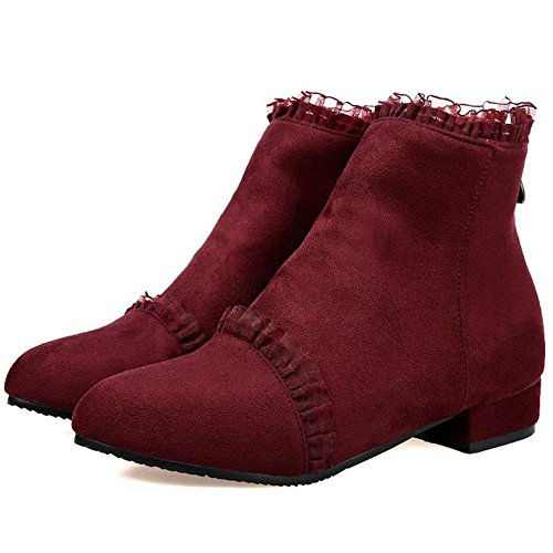 Melady Cremallera Claret Dulce Mujer Lace Botines rwrOqR