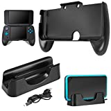 Charging Dock for New Nintendo 2DS XL with Hand Grip, AFUNTA Charging Station Cradle Stand With Mini USB Cable and Plastic Handle for 2017 Nintendo 2DS LL - Black