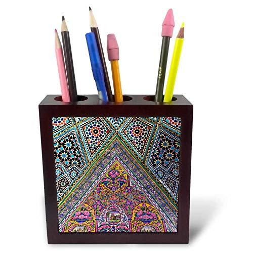3dRose Danita Delimont - Islamic Architecture - Central Iran, Shiraz, Nasir-Al Molk Mosque, Exterior Tilework - 5 inch Tile Pen Holder (ph_312737_1)