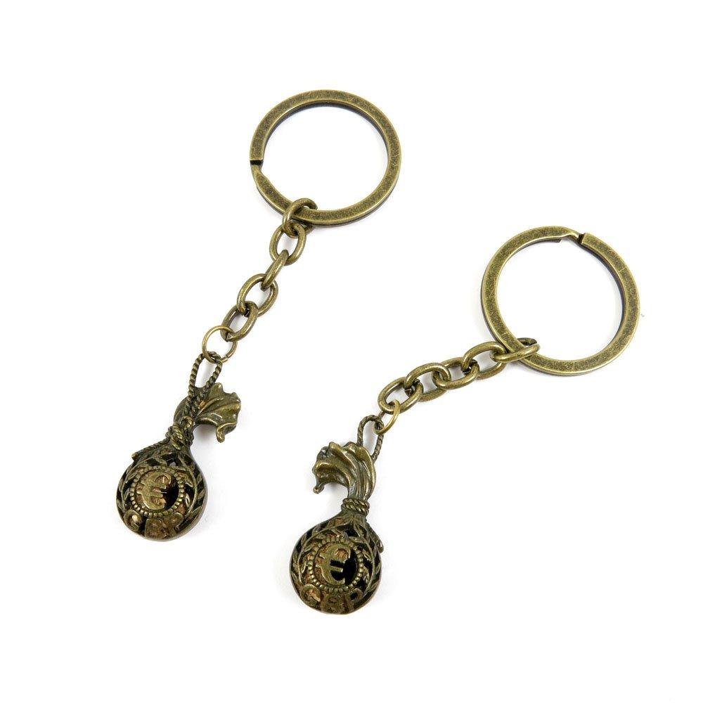 80 Pieces Fashion Jewelry Keyring Keychain Door Car Key Tag Ring Chain Supplier Supply Wholesale Bulk Lots F5SF6 Euro Bag Sack