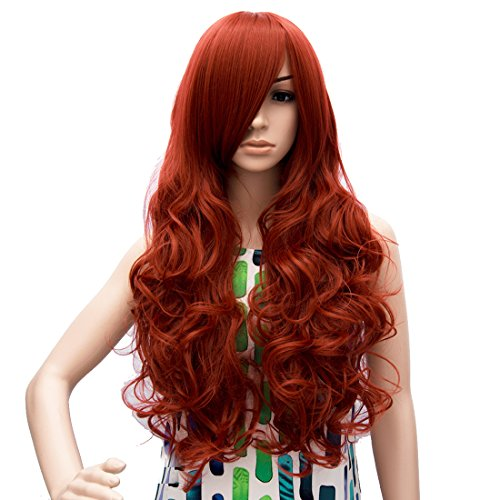 Probeauty Curly Long Side Bangs Durable Heat Resistant Wig for Cosplay or Daytime Use, Medium, Red/Wine Red/Dark (Ariel Wigs)
