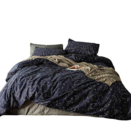 SUSYBAO 3 Pieces Duvet Cover Set 100% Natural Cotton King Size Navy Blue Constellation Print Bedding Set 1 Duvet Cover 2 Pillowcases Hotel Quality Soft Breathable Durable Comfortable with Zipper Ties (Duvet Navy Cover King)