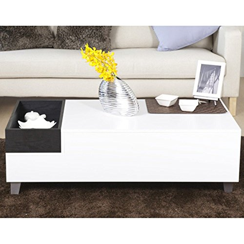 Furniture Of America Jade Modern White Coffee Table With Serving