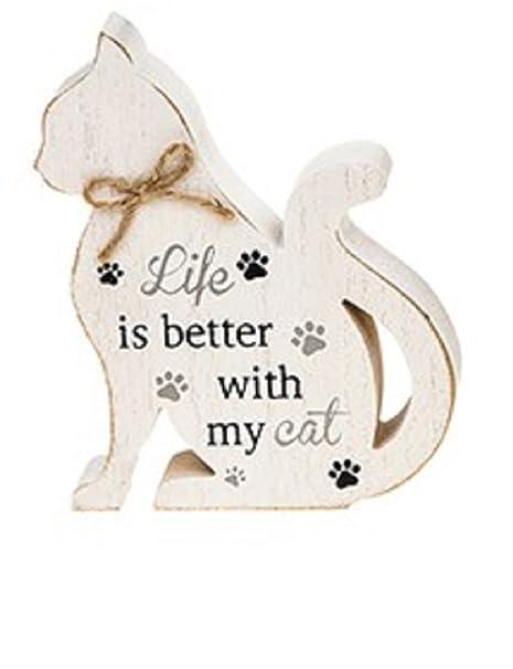 Bloque de madera con forma de gato Sign/Placa – vida es mejor con mi