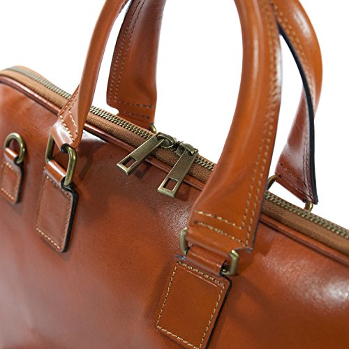 Unisex Laptop Tasche / Arbeitstasche, Echtes Leder aus Italian, Carelli Italia NAPELS orange-braun