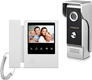 AMOCAM Video Door Phone System, 4.3 Inches Touch Monitor Wired Video Intercom Doorbell Kits, IR Night Vision Camera Door Intercom, Doorphone Telephone Style for Home Video Surveillance