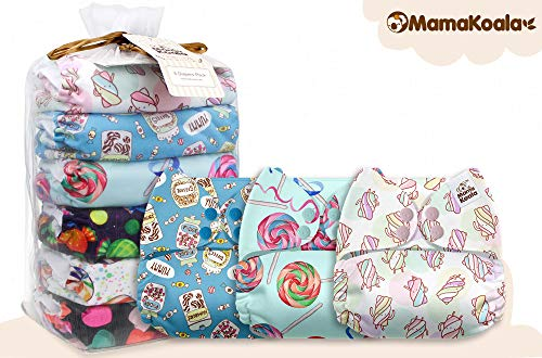Mama Koala One Size Baby Washable Reusable Pocket Cloth Diapers, 6 Pack with 6 One Size Microfiber Inserts (The Sweet Tooth)