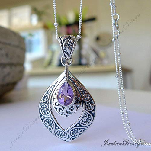 - Purple Amethyst Peacock Feather Bali Sterling Silver Pendant with 20