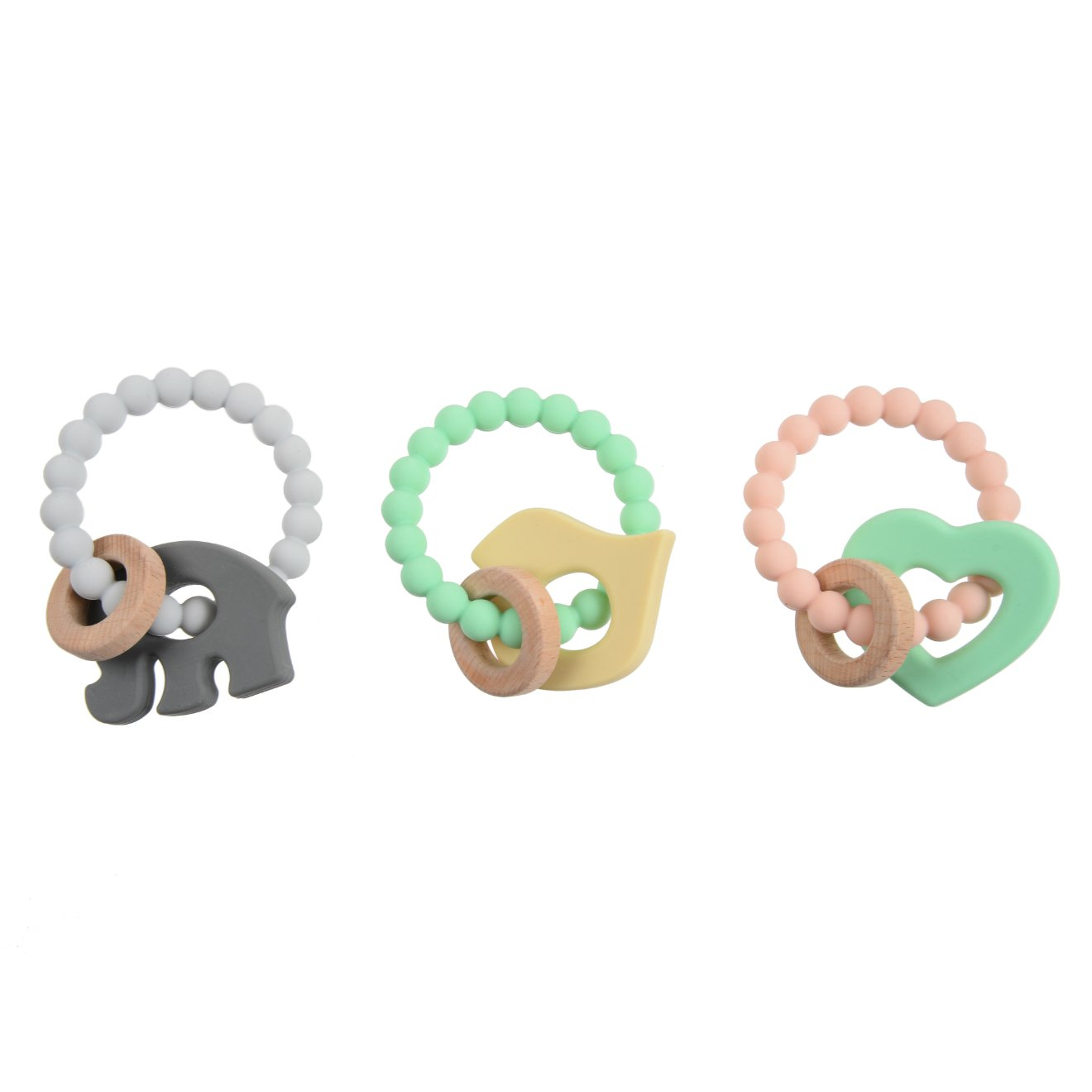 Chewbeads - Brooklyn Teether Baby Teething Toy (Baby Elephant). 100% Infant Safe Chewable Silicone and Wood Teething Ring for Soothing Gums and Easing Pain from Emerging Teeth. BPA Free