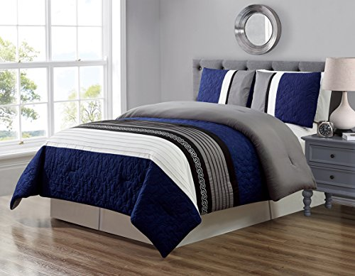 GrandLinen 3 Piece Navy Blue/Grey/Black/White Scroll Embroidery Bed in A Bag Down Alternative Comforter Set King Size Bedding. Perfect for Any Bed Room or Guest Room (Black King Bedding Grey Size And)
