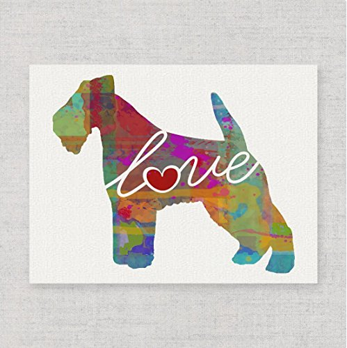 Fox/Wire/Welsh Terrier Love - Watercolor-Style Print/Poster on Fine Art Paper - Can Be Personalized
