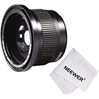 Neewer 58MM 0.35X Super Fisheye Wide Angle Lens w/ Macro Close Up Conversion Lens for CANON REBEL (T5i T4i T3i T2i T1i XT XTi XSi SL1), CANON EOS (700D 650D 600D 1100D 550D 500D 100D 60D 7D) DSLR Cameras + Microfiber Cleaning Cloth Basic Facts Review Image