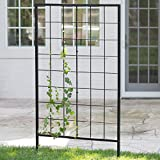 Modern Danbury 39-In. Metal Steel Trellis (JF150274) Black. Features: Powder-Coated Steel, Stylish Black Finish, Modern Grid Design. 39.25L X 1W X 70H In. - Assembly Required