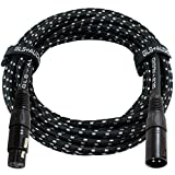 GLS Audio 25 Foot Mic Cable Balanced XLR Patch Cords - XLR Male to XLR Female 25 FT Microphone Cables Black Gray Tweed Cloth Jacket - 25 Feet Mike Pro Snake Cord 25' XLR-M to XLR-F - SINGLE