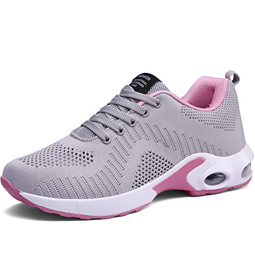 CASMAG Womens Casual Athletic Sneakers Knit Running Shoes Tennis Shoe for Women Walking Baseball Grey 6 M US