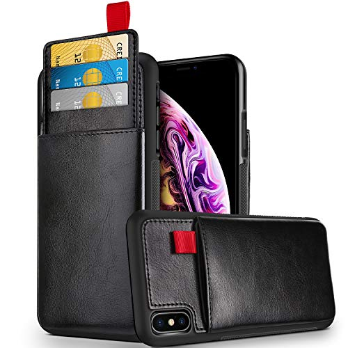 Shell Synthetic Leather (HianDier Case for iPhone Xs MAX Wallet Case Sliding Card Holder Slim Faux Leather Back Cover Shell Card Slot Pocket Protective TPU Bumper Work for iPhone Xs MAX 2018 Release (6.5 Inch), Black)
