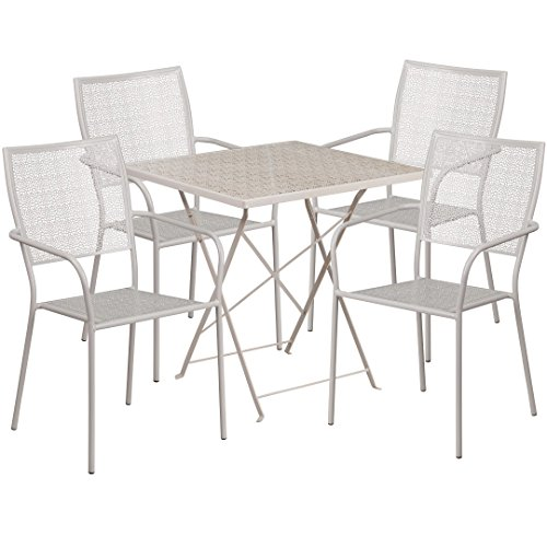 MFO 28'' Square Light Gray Indoor-Outdoor Steel Folding Patio Table Set with 4 Square Back Chairs