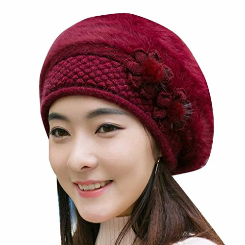 Hunputa WomensWinter Hat, French Beret Wool Beret Chic Beanie Winter Hat Slouchy Cable Knit Hat Snow Ski Caps (Wine ()